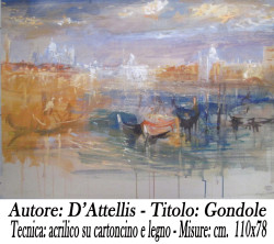 D'Attellis ,Gondole, 110x78, acrilico su cortoncino e compensato copia