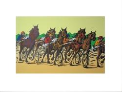 Cavalli in corsa  - Misure,   della figura cm. 50x30- supporto cartoncino